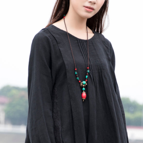 Women Leisure Cotton Long Sleeves Black Dress - Buykud