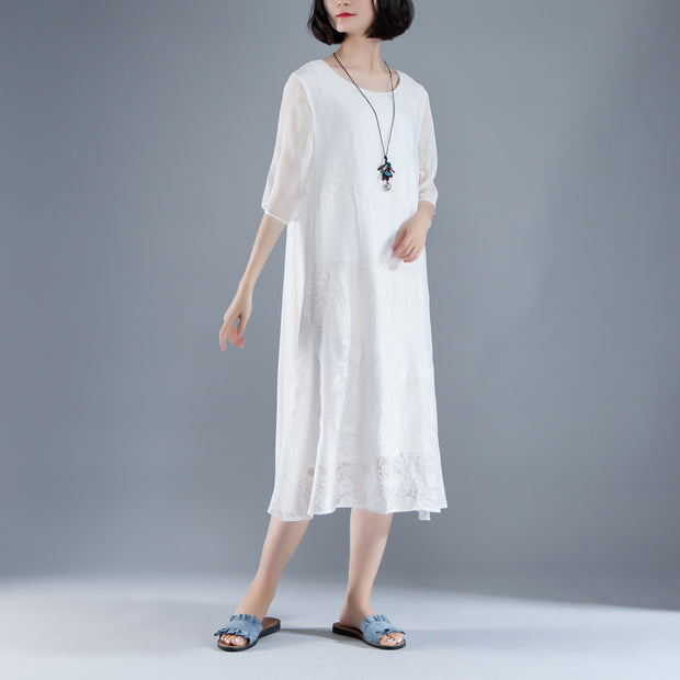 Summer Flower Fake Two-piece Retro White Embroidery Dress