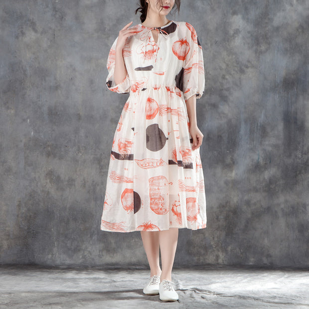 Women Summer Half Sleeve Printed Pleated Dress