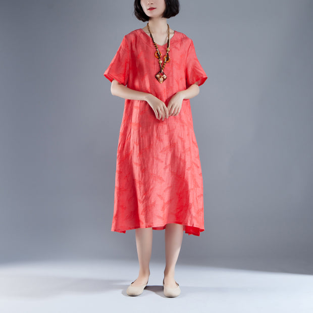 Short Sleeve Slit Summer V Neck Casual Red Dress