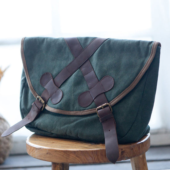 Large Capacity Canvas Leather Splicing Green Shoulder Bag - Buykud