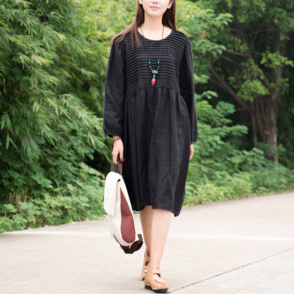 Women Solid Black Long Sleeve Stripe Pockets Pleated Dress