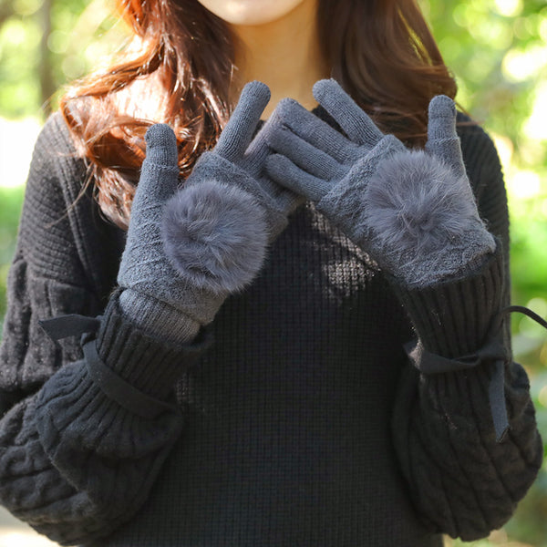 Winter Women Keep Warm Two Pieces Knitted Gloves