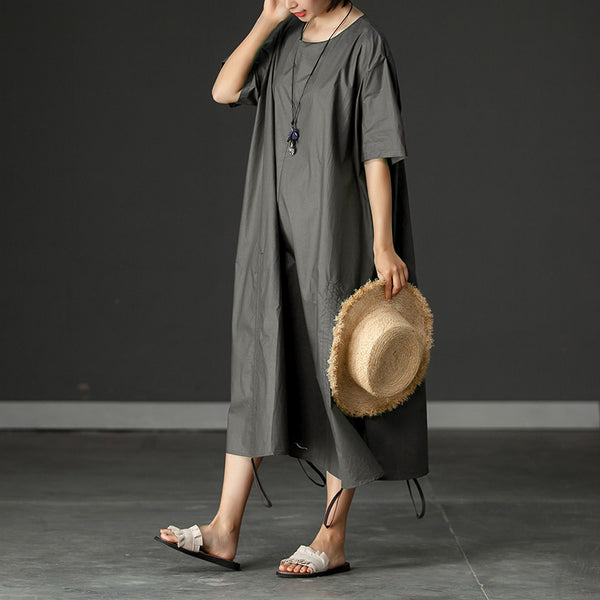 Pockets Summer Short Sleeve Gray Loose Dress