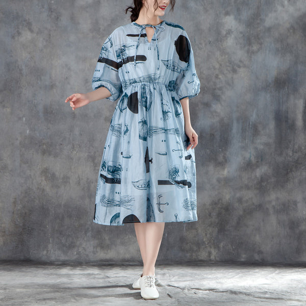 Women Summer Half Sleeve Printed Pleated Blue Dress