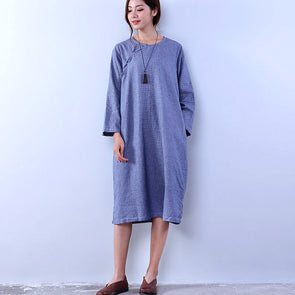 Vintage Lattice Women Loose Light Blue Dress - Buykud