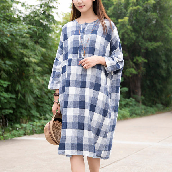 Casual Loose Cotton Blue White Lattice Shoulder Sleeves Dress - Buykud