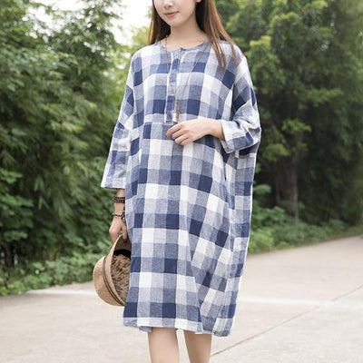 Casual Loose Cotton Black White Lattice Shoulder Sleeves Dress