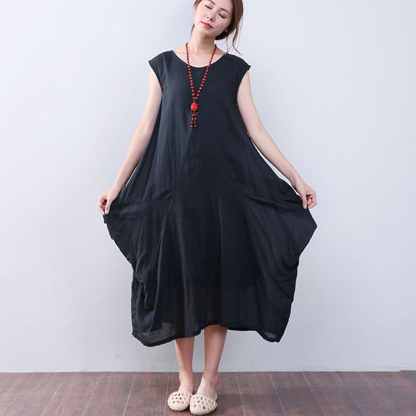 Irregular Loose Summer Women Cotton Sleeveless Black Dress - Buykud