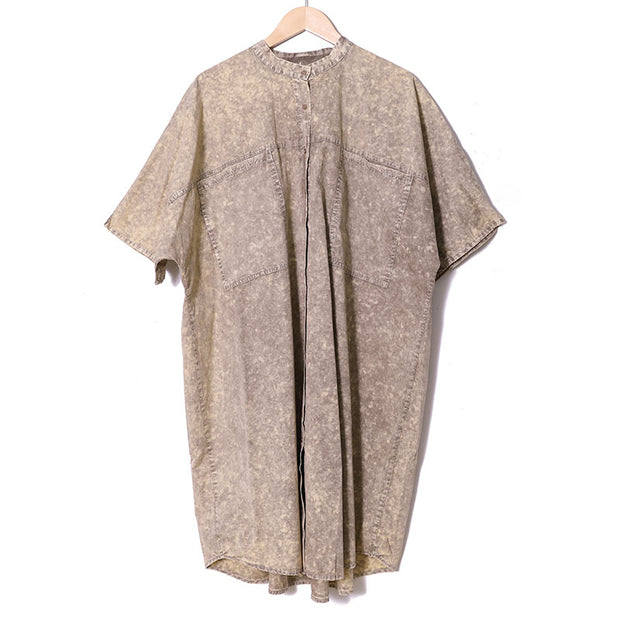 Casual Short Sleeve Loose Shirt Dress For Women - Buykud