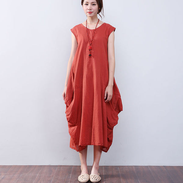 Irregular Loose Summer Women Cotton Sleeveless Orange Dress - Buykud