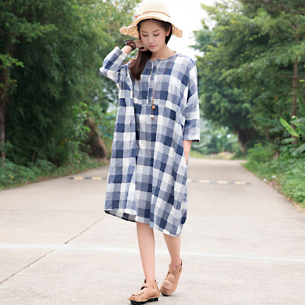 Casual Loose Cotton Blue White Lattice Shoulder Sleeves Dress