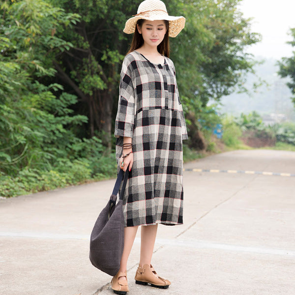 Casual Loose Cotton Black White Lattice Shoulder Sleeves Dress - Buykud