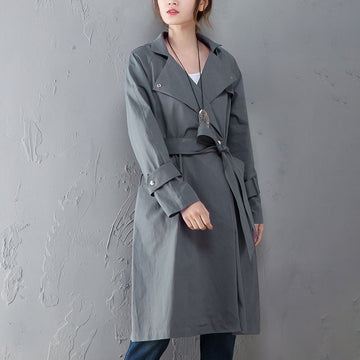 Women Polo Collar Long Sleeve Casual Hoodie Gray Coat - Buykud