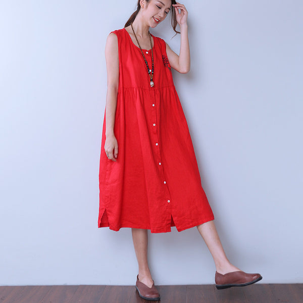 Embroidered Women Loose Linen Pocket Red Vest Dress