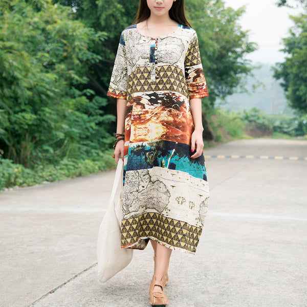Summer Women Printing Silk Linen Mixed Color Short Sleeves Dress - Buykud