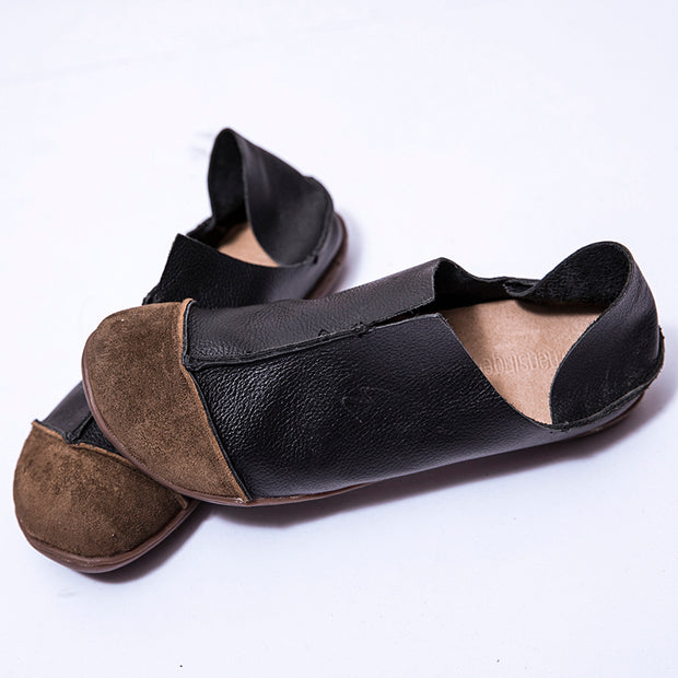 Fashionable Leather Retro Splicing Black Women Single Shoes - Buykud