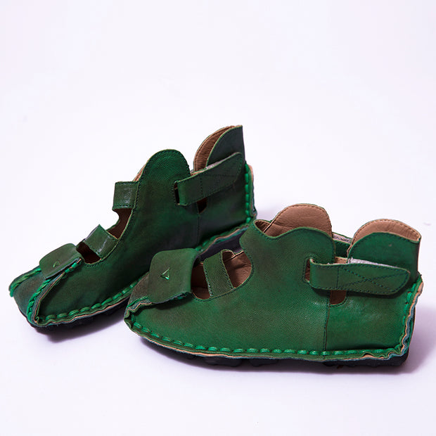Stylish Leather Retro Wild Women Green Sandals - Buykud