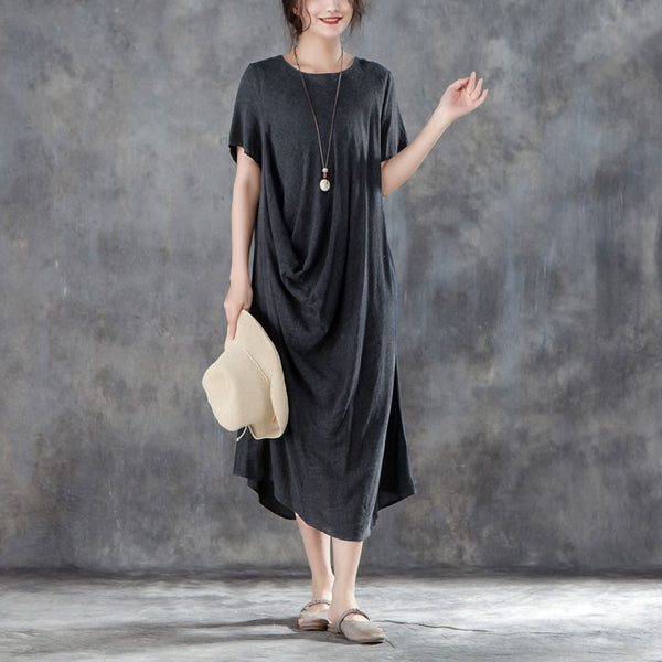Summer Women Baggy Loose Cotton Short Sleeve Dress