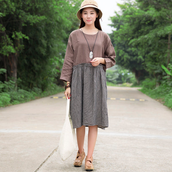 Retro Women Pleated Splicing Stripe Cotton Long Sleeves Coffee Dress