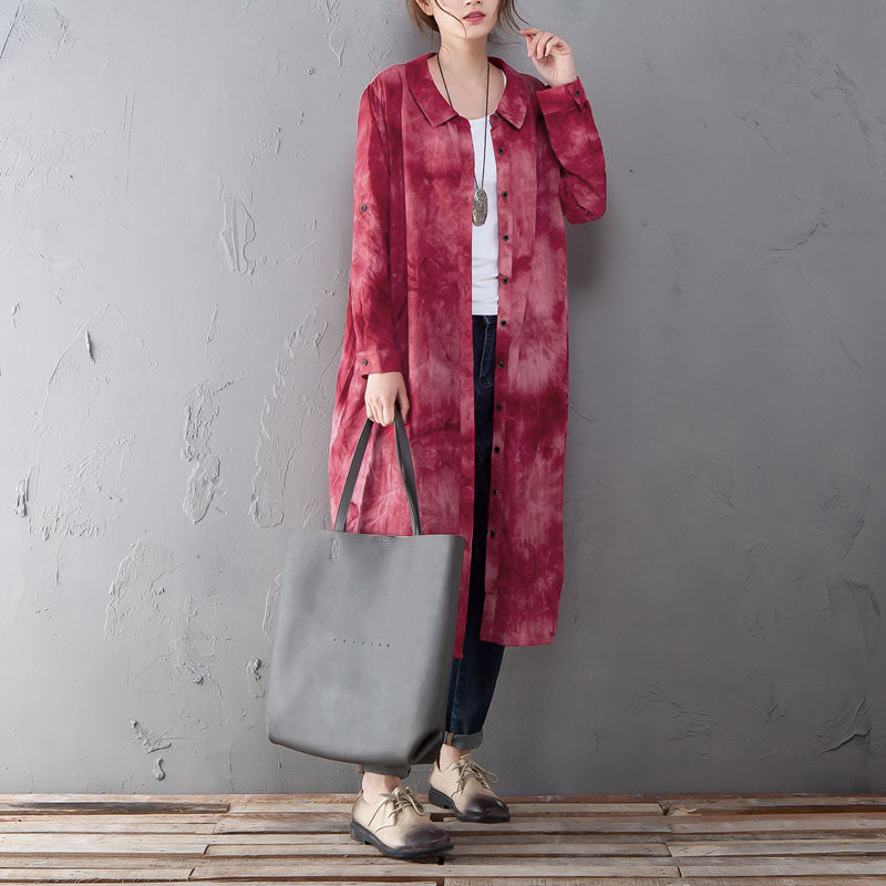 Single Breasted Long Sleeve Red Printed Shirt Dress - Buykud
