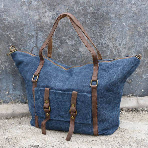 Leather Women Canvas Casual Blue Messenger Bag - Buykud