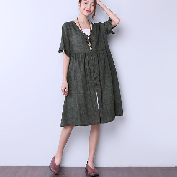 Women Loose Retro Casual Printing Floral Green Dress