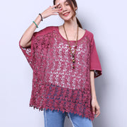 Cotton Summer Hollowed Loose Women Splicing Red Shirt - Buykud