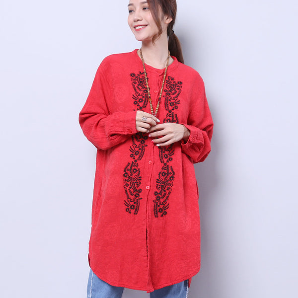 Embroidered Retro Loose Casual Women Cotton Linen Red Shirt - Buykud