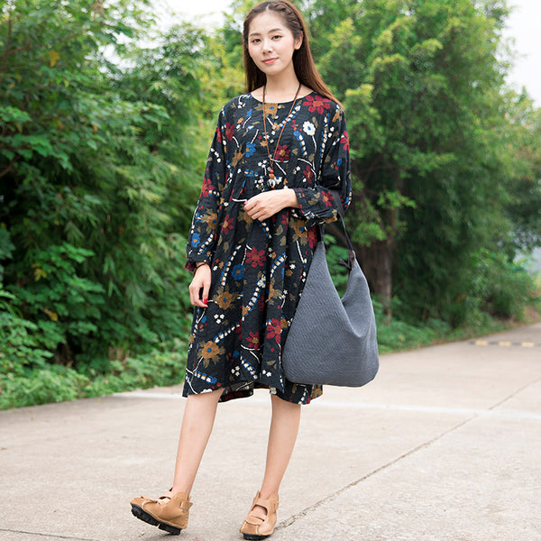 Vintage Floral Cotton Long Sleeves Black Dress - Buykud
