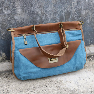 Retro Casual Canvas Women Blue Messenger Bags - Buykud