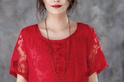 Women Casual Short Sleeve Rose Pattern Red Dress