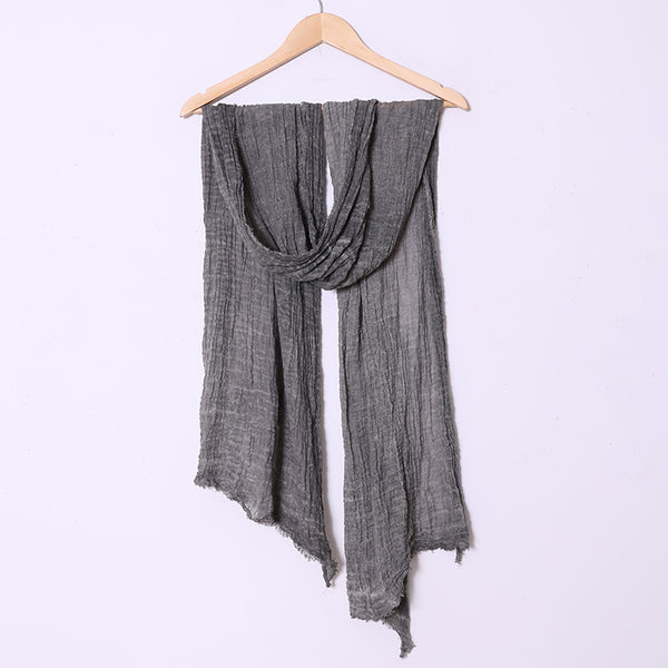 Casual Women Cotton Linen Folded Retangle Scarf - Buykud