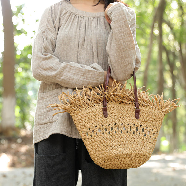 Straw Knitted Hollow Out Leather Strap Handbag For Women - Buykud