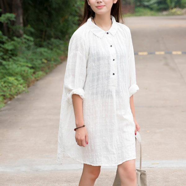 Women White Retro Long Sleeve Buttons Irregular Shirt Dress - Buykud