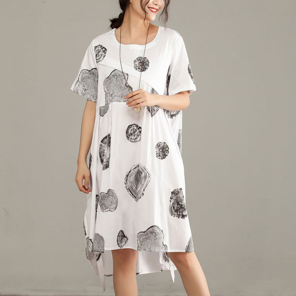 Printed Irregular Round Neck Short Sleeve White Dress - Buykud