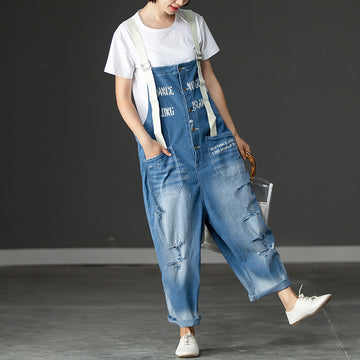 Women Denim Pockets Hollow Casual Jumpsuits