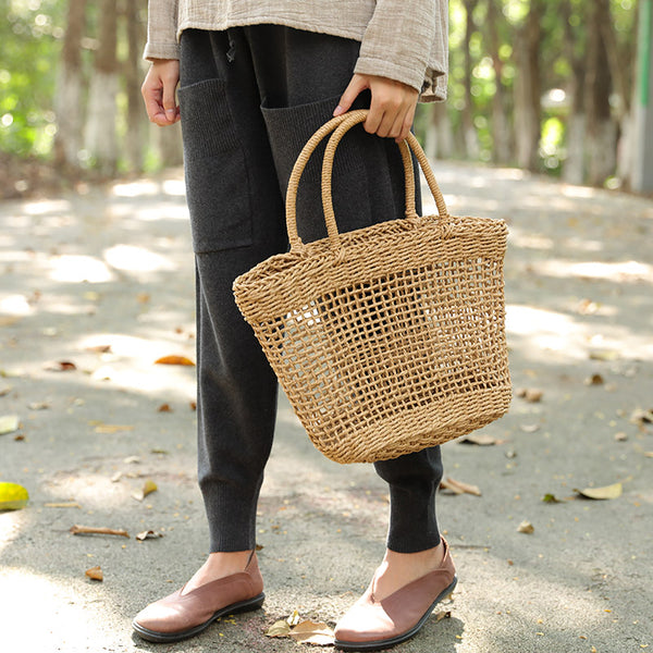 Simple Straw Knitting Hollow Out Handbag For Women - Buykud