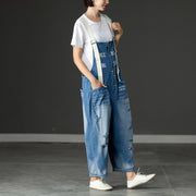 Summer Denim Pockets Hollow Casual Jumpsuits