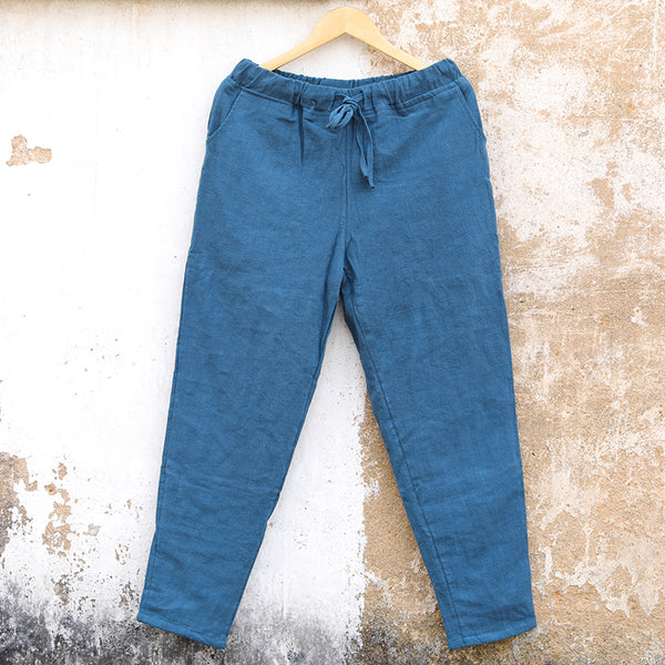 Linen Casual Autumn Winter Blue Women Pants