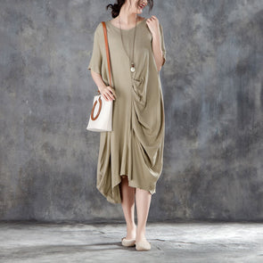 Women Baggy Casual Round Neck Short Sleeve Khaki Dress