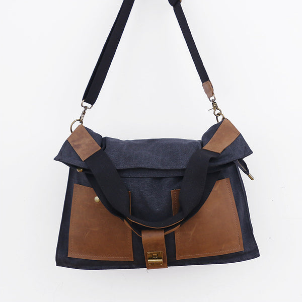 Black Leather Casual Canvas Women Messenger Bag - Buykud