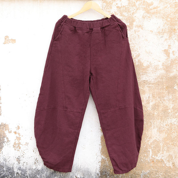 Casual Linen Autumn Winter Paddy Waist Wine Red Women Pants