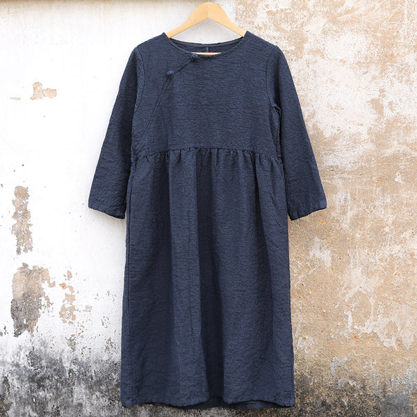 Casual Winter Women Cotton Frogs Dark Blue  Dress