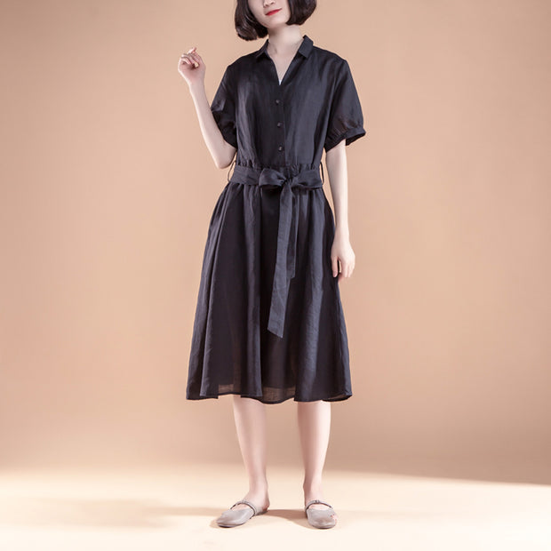 Short Sleeve Pleated Belt Summer Casual Dress