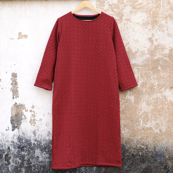 Casual Women Cotton Wool Long Sleeves Winter Red Dress