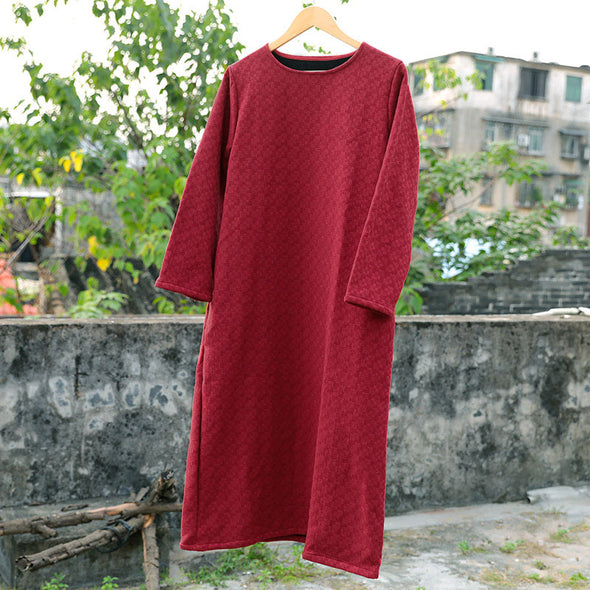 Casual Women Cotton Wool Long Sleeves Winter Red Dress - Buykud