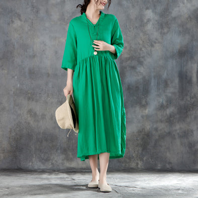 V Neck Three Quarter Sleeve Linen Pleated Green Dress