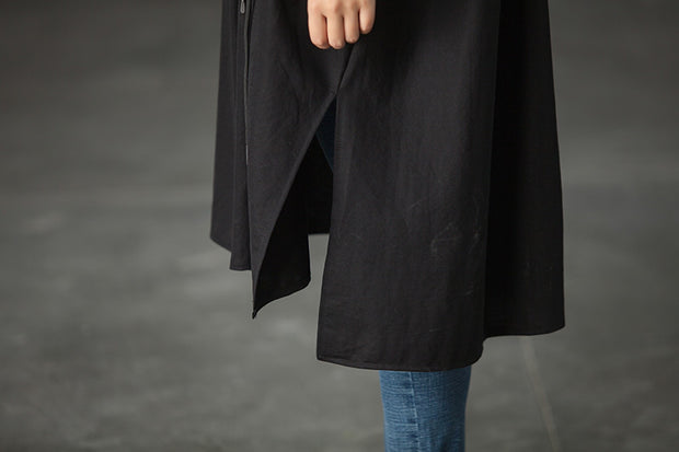Cotton Casual Hole Short Sleeve Black Slit Long Loose Tops