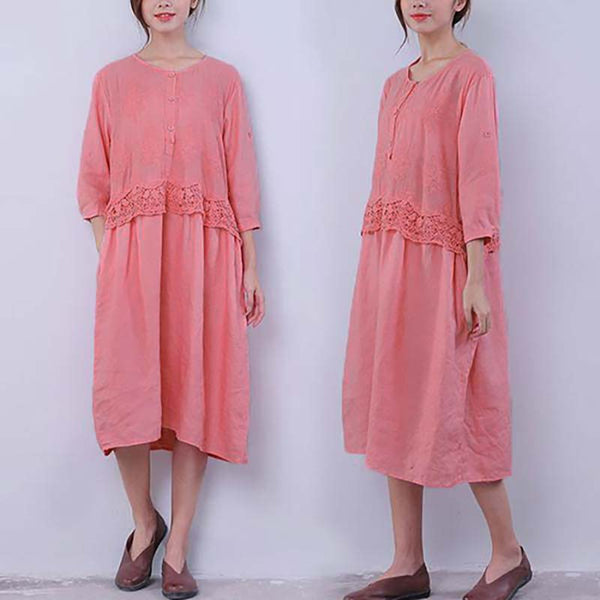 Chic Applique Lacing Button Pocket Women Pink Dress - Buykud
